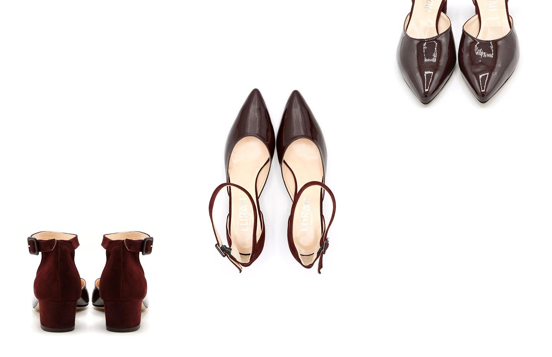 scarpa d'orsay camoscio vernice bordeaux