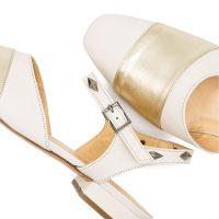Mules Pelle Bianco Platino Con Cinturino E_Borchie 41 42 43 44 5_