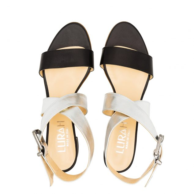 Sandalo Pelle Nero Argento Doppia Fascia numeri 41 42 43 44 45