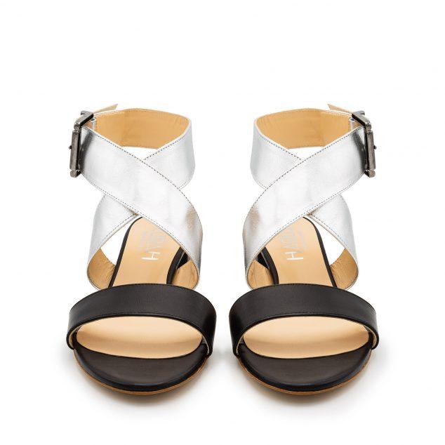 Sandalo Pelle Nero Argento Doppia Fascia numeri 41 42 43_44_45