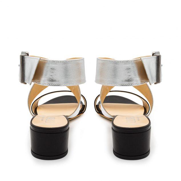 Sandalo Pelle Nero Argento Doppia Fascia numeri grandi