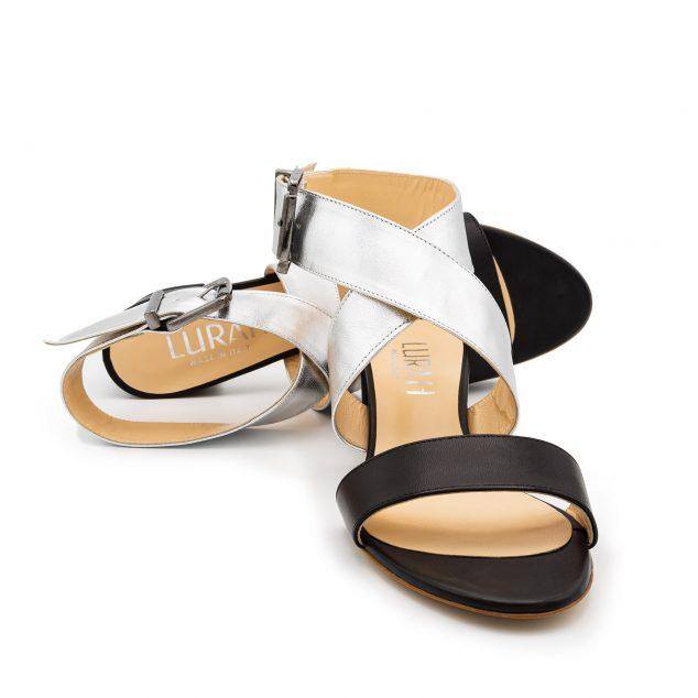 Sandalo Pelle Nero Argento Doppia Fascia numeri_41_42_43_44_45
