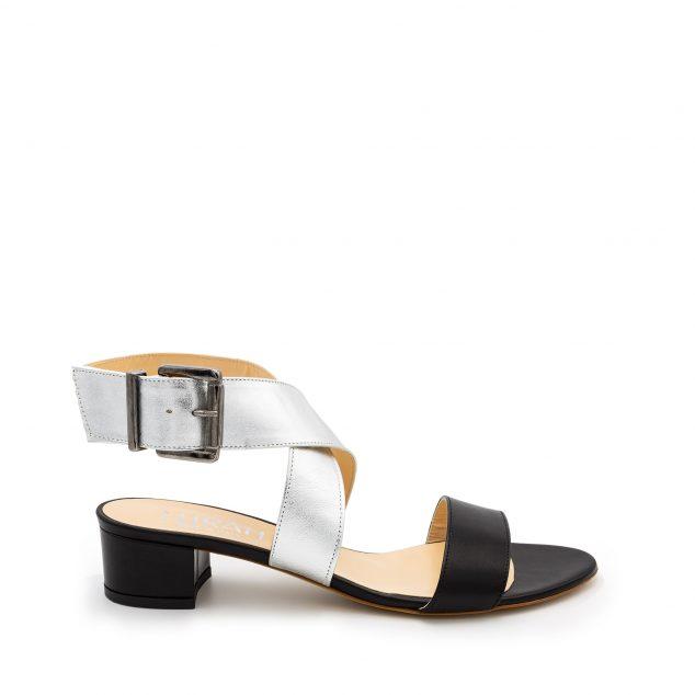 Sandalo Pelle Nero Argento Doppia Fascia numeri_41_42_43_44_45_