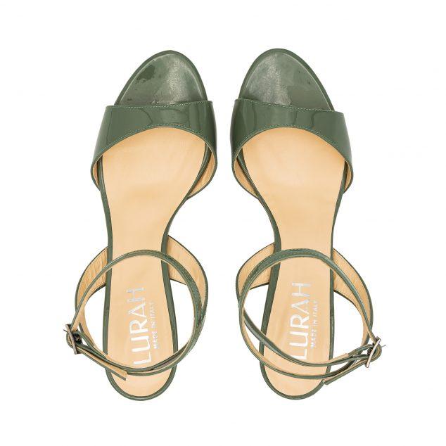 Sandalo Vernice Verde Militare Con Cinturino Incrociato numeri 41 42 43 44 45