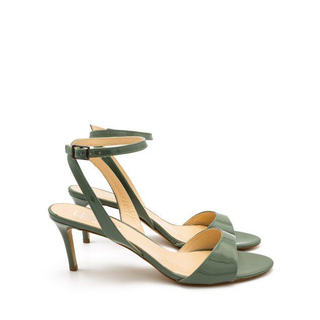 Sandalo Vernice Verde Militare Con Cinturino Incrociato numeri 41 42 43 44_45