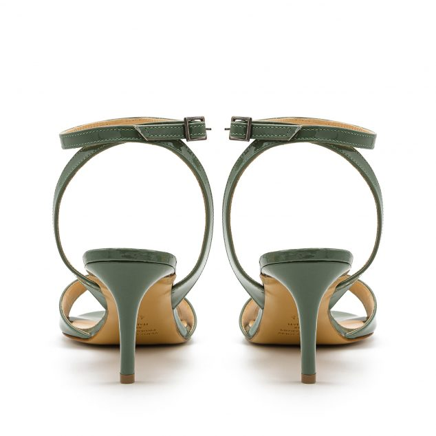 Sandalo Vernice Verde Militare Con Cinturino Incrociato numeri 41_42_43_44_45
