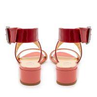 Sandalo vernice doppia fascia rosa rosso numeri grandi