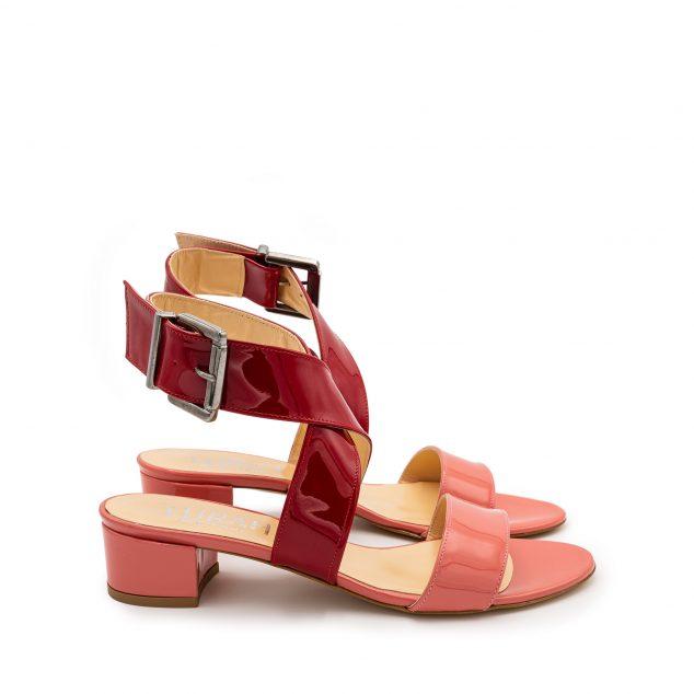 Sandalo vernice doppia fascia rosa rosso numeri grandi 41 42 43 44 45