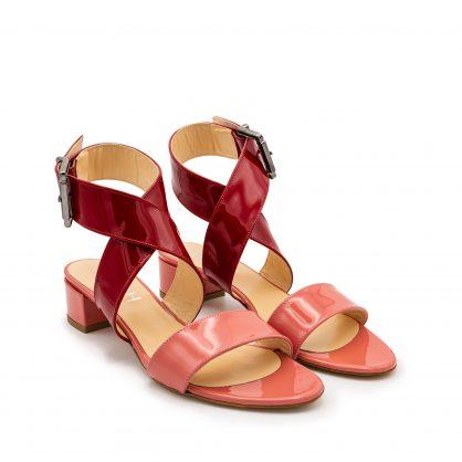 Sandalo vernice doppia fascia rosa rosso numeri grandi_41_42 43 44 45