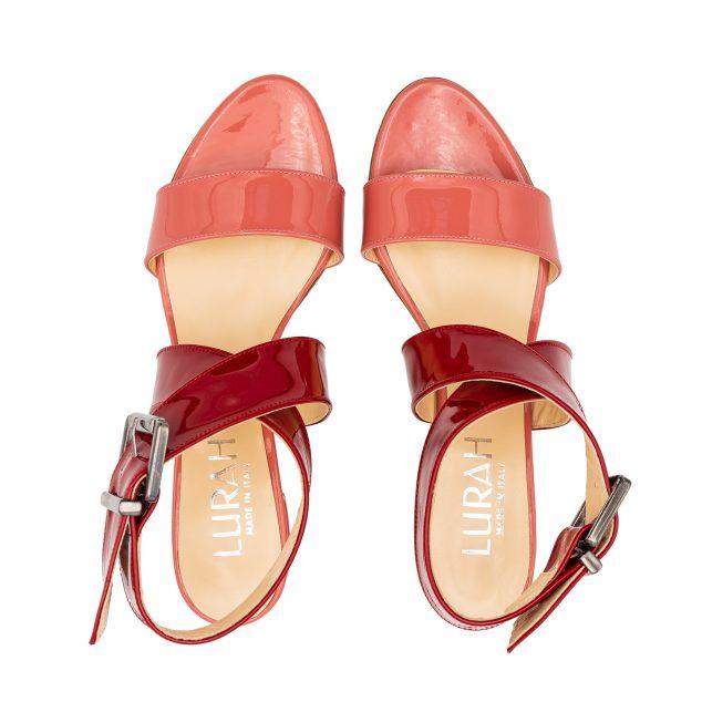 Sandalo vernice doppia fascia rosa rosso numeri grandi_41_42 43_44_45