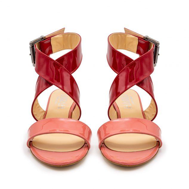 Sandalo vernice doppia fascia rosa rosso numeri grandi 41_42 43 44 45