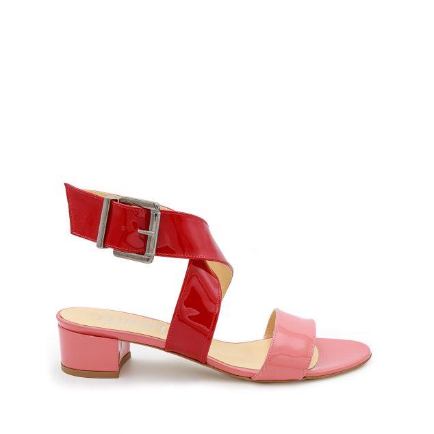 Sandalo vernice doppia fascia rosa rosso numeri grandi_41_42_43_44_45