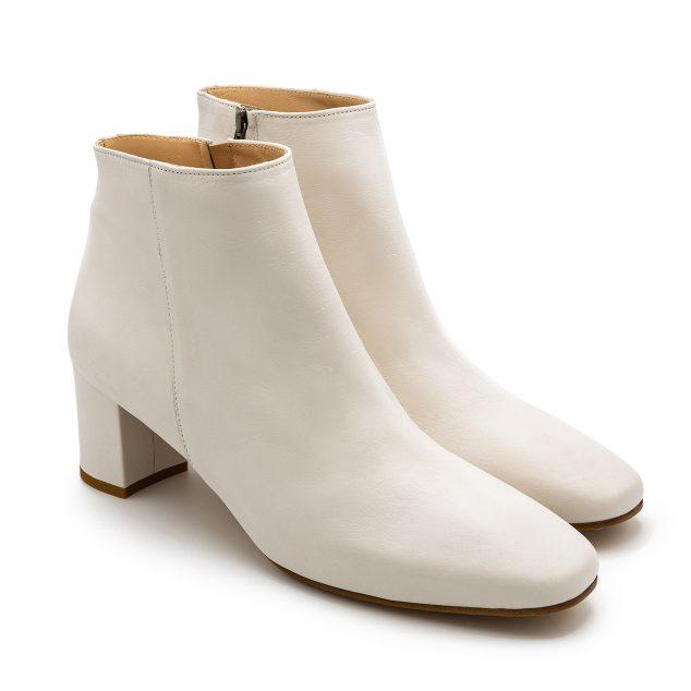 Stivaletto Pelle Bianco Con Zip Laterale numeri 41 42 43 44 45