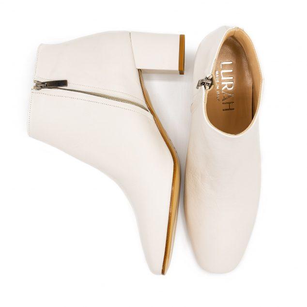 Stivaletto Pelle Bianco Con Zip Laterale taglie grandi 41 42 43 44 45