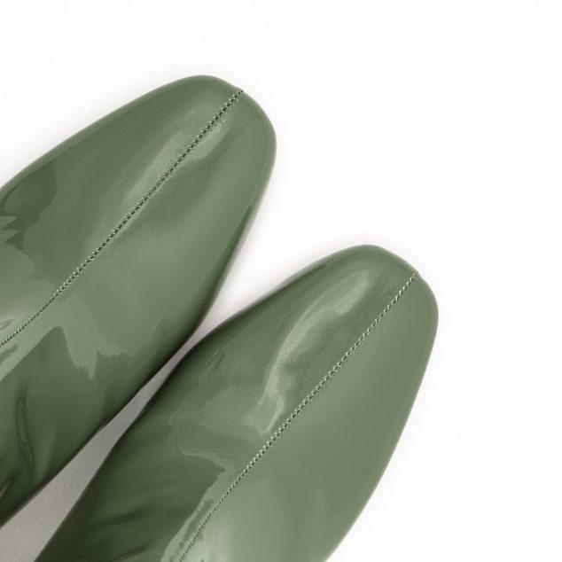 Stivaletto Vernice Verde Militare Con Zip Laterale numeri grandi_41 42 43 44 45