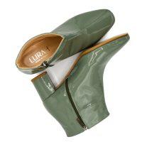 Stivaletto Vernice Verde Militare Con Zip Laterale numeri grandi_41 42 43 44_45