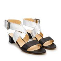 sandalo fascia argento nero numeri grandi